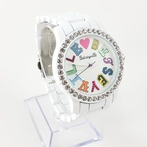 Betsey Johnson Watch White + Rhinestones